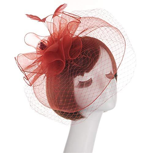 Chapeau De Fascinators Fascinator Chapeau En Épingle à Cheveux Chapeau Chapeau De Noce Chapeau De Thé Chapeau Marseille Femelle Elégant Chapeau Pour Cocktail Royal Ascot ( Color : Red )