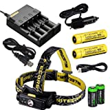 Nitecore HC90 900 Lumen CREE XM-L2 T6 LED USB rechargeable headlamp 2 X Genuine Nitecore NL189 18650 3400mAh Li-ion rechargeable batteries, Nitecore i4 intelligent Charger, in-Car Charging Cable and Two EdisonBright CR123A Lithium Batteries