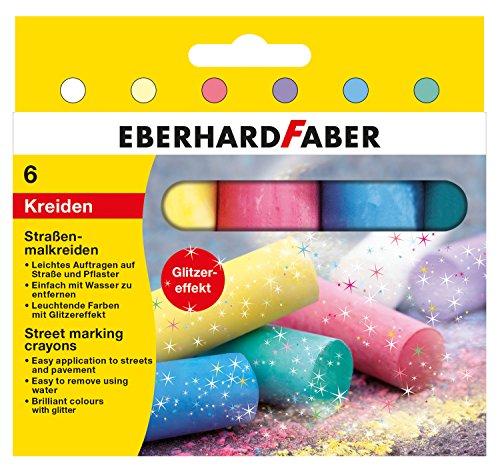 Eberhard Faber 526504 - Straßenmalkreide glitzer 6er Etui, Sortiert