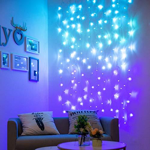 Lichterketten Vorhang Lichterkette Innen Lichterkette Vorhang Lichtervorhang Bunt Türkis Blaugrün Blau Lila LED für Schlafzimmer Kinderzimmer Deko Mädchen Einhorn Meerjungfrau Party 2x2m (180LED)