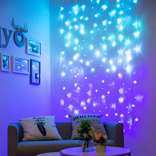 Curtain Lights for Bedroom Wall Light Up Curtains Led String Lights Turquoise Teal Blue Lavender Lilac Purple Twinkle Hanging Fairy Lights Unicorn Mermaid Kawaii Sanrio Teen Room Decor for Girls