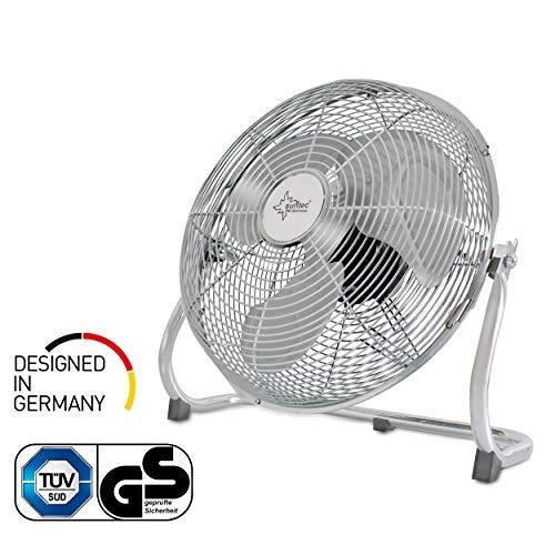 Bodenventilator CoolBreeze 5000 BV - Leise 50 cm, 120 Watt | Boden Ventilator 3 Stufen, Tragbar | Windmaschine Fan Metall Chrom | Perfekt für Schlafzimmer, Büro, Wohnung, Balkon, Terasse | von SUNTEC