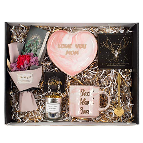 Gifts for Mom - Best Mom Gifts Includes Sterling Silver Necklace,Earrings, Pink Heart Marble Jewelry Trays,Pink Marble Mug, Scented Candle and Flower – Best Mother's Day Birthday Gift Set