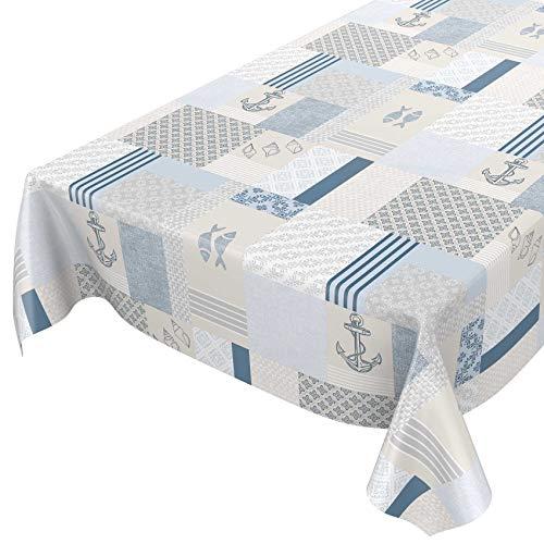 ANRO Tischdecke Wachstuch abwaschbar Wachstuchtischdecke Wachstischdecke Maritim Blau Beige 100x140cm