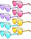 8 Pairs Rimless Sunglasses Heart Shaped Frameless Glasses Trendy Transparent Candy Color Eyewear for Party Favor (Purple, Rose Red, Yellow, Blue)