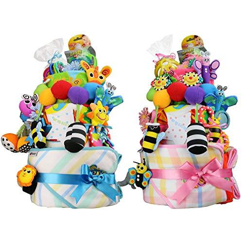 Sassy サッシー 出産祝い スーパーDX豪華3段 おむつケーキ (パンパーステープタイプSサイズ, 男の子向け(ブルー系))