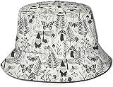Unisex Schwarz-Weiß-Gartenzwerg Print Travel Bucket Hat Sommerfischer Cap Sun Hat-Schwarz-Weiß-Gartenzwerg