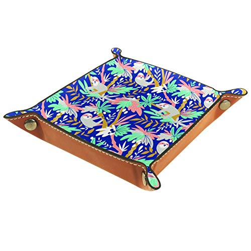 chuangxin - Bandeja portátil para dados de piel sintética, diseño tropical con perezosos, caja de juego para D&D, RPG, juegos de mesa o almacenamiento de llaves de teléfono de escritorio, multicolor, 20.5x20.5cm