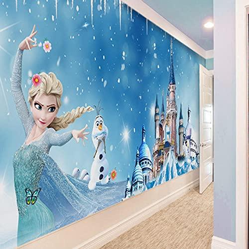 Europese Stijl 3D Behang Luxe Niet-Geweven Reliëf Muur Roll Papier Slaapkamer Woondecoratie,Tv Achtergrond Wallpaper-Blauw Kasteel Cartoon Frozen (450x300CM)