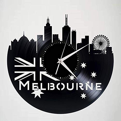 Melbourne View Kunst Uhr Stadt Schallplatte Wanduhr Vinyl Material 3D Hohl Wohnzimmer Schlafzimmer Arbeitszimmer Dekoration Uhr Mit Led 12 Zoll
