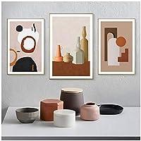Ychomecp-アートパネル 幾何学的抽象静物美しいポスターとプリントリビングルームの家の装飾のための壁の芸術の写真23.6x31.5in(60x80cm)x3pcsフレームなし
