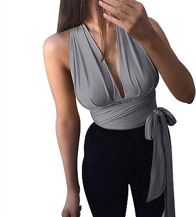 Blusa sin Mangas para Mujer con Cuello Halter y Cintura Atada ...