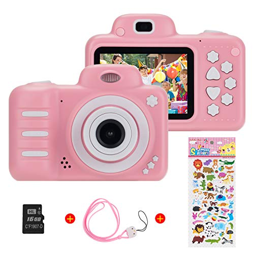 Vannico Kinder Digital Mini Kamera, Selfie Photo Kids Camera HD Kinderkamera 8 Megapixel, Wiederaufladbar Actionkameras Camcorder für Mädchen Jungen mit 16G SD Karte (Rosa)