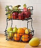 Fruit Basket for Kitchen, 2-Tier Fruit Bowl Storage Holder for Fruits Vegetables Bread Snacks, Housen Solutions (Black)