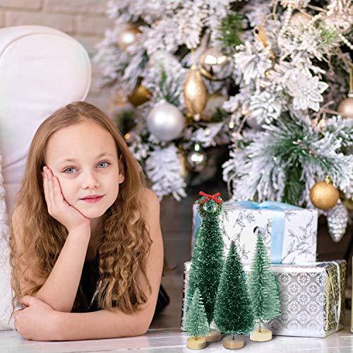 BOSSTER Mini Albero di Natale Pino 5 Pezzi Snow Frost Alberi con Base di Legno per Decorare Tavolo Vetrina Festa a casa di Natale 30cm 25cm 20cm 15cm 10cm