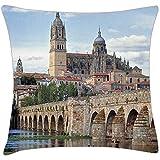 Tommy Warren Europa, España, Salamanca. The Roman Bridge Throw Pillow Cover Funda de Almohada Impresa con diseño de Dos Lados