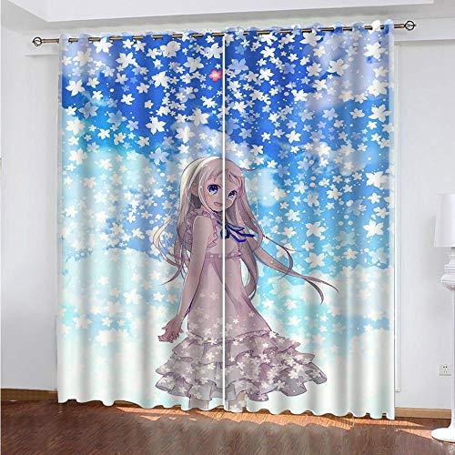 Kind 2er-Set Verdunkelungs Vorhang,Japan Anime Mädchen Kinder Gardinen Ösen Gardine Thermo Polyester Schlafzimmer Vorhänge Dekoratives Muster Européen 138 x 234 cm (HxB)