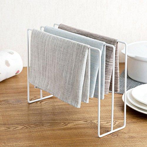 Forweilai Handtuchhalter Ständer Geschirrtuch Gestell Lumpen Organisator Tücher Reinigungstuch Trocknen Hadern Aufhängen Organizer - (Weiß)