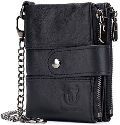BULLCAPTAIN Men Wallet Genuine Leather RFID Blocking Wallets with Anti Theft Chain Double Zipper Coin Pocket Large Capacity 1