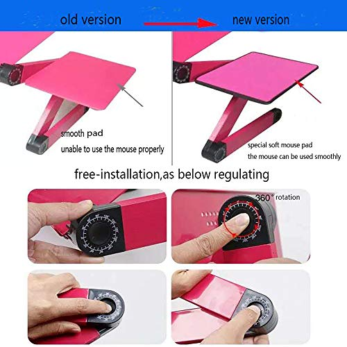 Laptop Desk for Bed and Couch, Portable Adjustable Laptop Stand with Big CPU Cooling Fan and Mouse Pad, Ergonomics Aluminum TV Bed Lap Tray up to 17in, Rose Red Photo #9