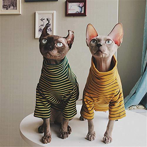 ZHIHAN Sphinx gestreiften Pullover haarlose Katze Herbst und Winter Anti-Off-Paar Kleidung, gelb, L