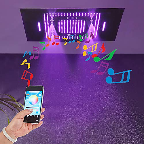 Find Discount YUXIANG Square Rain Shower Head, LED Music Bluetooth Ceiling Mount Rainfall Shower Hea...
