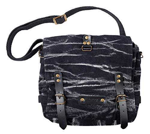 Halle 15 Clothes Black Stripes Gothic BW Kampftasche klein Umhängetasche Canvas Bag mit Lederapplikationen