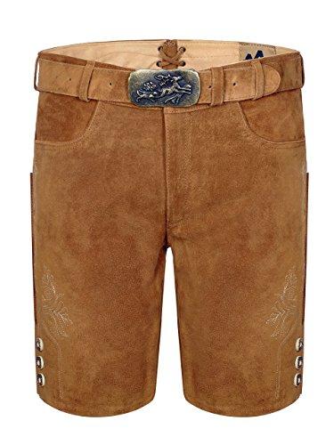 Almbock Lederhose kurz Herren hell - braune Trachten Lederhose mit Gürtel und Schnalle im Jagdmotiv - Lederhosen kurz Herren - Trachten Shorts Gr. 52