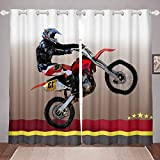 Feelyou Dirt Bike Room Darkening Curtain for Bedroom Motocross Racer Extreme Sports Thermal Insulated Window Drapes Kids Boys Motorcycle Thermal Curtain Motorbike Draperies,52W X 84L,2 Panels