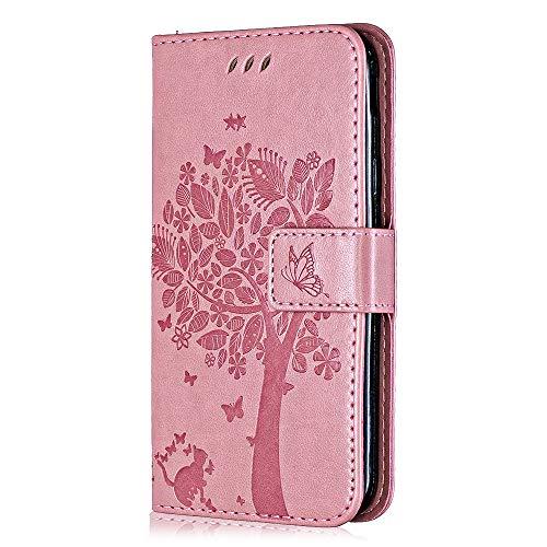 Hülle für Galaxy A8S, Bear Village Premium PU Leder Multifunktion Ständer Schutzhülle mit Kartenfach, Geprägter Baum Hülle für Samsung Galaxy A8S, Rosa