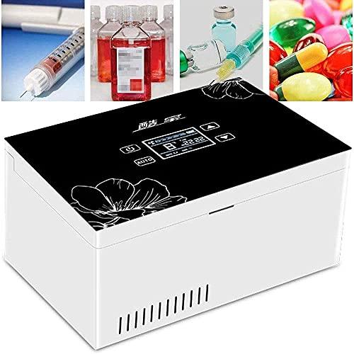 Qjkmgd Refrigerador de insulina de Alto Volumen/Caja refrigerada de insulina, retraso en Espera Largo 2-25 , Nevera diabética portátil para el hogar/Coche/Viaje/Camping, 1 * batería