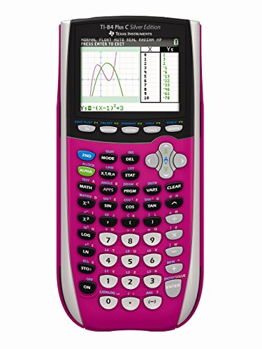 Texas Instruments TI-84 Plus C Silver Edition Graphing Calculator, Pink (Renewed)