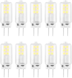 LXcom G4 LED Bulb AC/DC 12V G4 Landscape LED Bulb (10 Pack) 10W Halogen Bulb Equivalent 6000K Daylight White JC T3 G4 LED Light Bulb 360° Beam Angle G4 Bi-Pin Base for Accent Lights Track Lighting