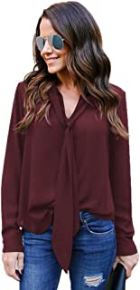 TOPUNDER Casual Tie Chiffon Shirt for Women Solid Long Sleeved V-Neck Top Blouse