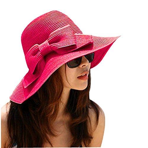 TININNA Bohemia Verano Sun Floppy Mujer Sombrero de la Playa de la Paja del Borde Grande Ancho Cap Moda de Viajes Vacaciones De ala Ancha Sombrero Grande Gorro para Muchacha Rose Red