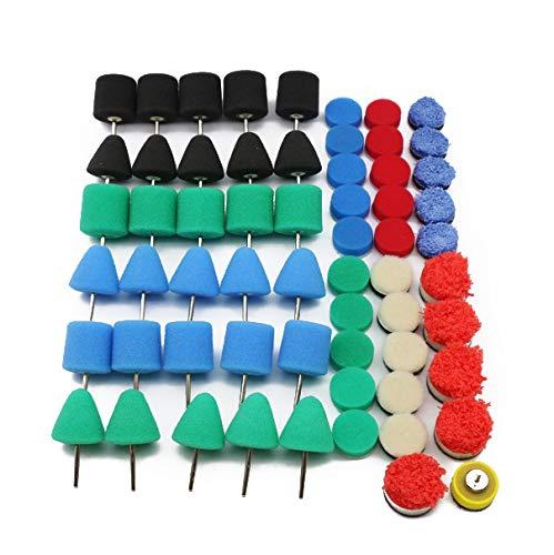 61pcs/set Mini Car Polishing Pad Kit, Kecheer Car Detailing Drill Polish Pads Sponge Flexible Shaft Buffing Wheels Kit Auto Polisher Machine Set for Car Headlights, Fog and Brake Lights, Door Handles