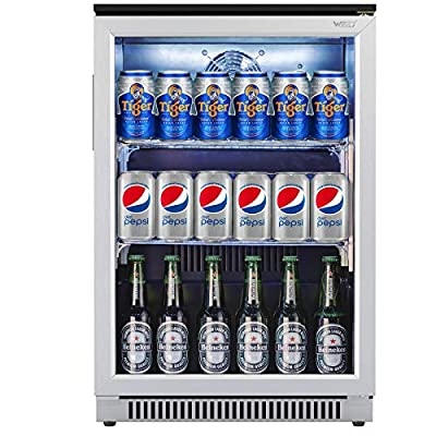Weili 20 Inches Wide Under Counter Beverage Refrigerator with Glear Glass Door for Beer Bottle Soda Can & Drink Water, Mini Built-in/Freestanding Fridge and Cooler for Small Apartment Bedroom Dorm Office Bar, Stainless Steel