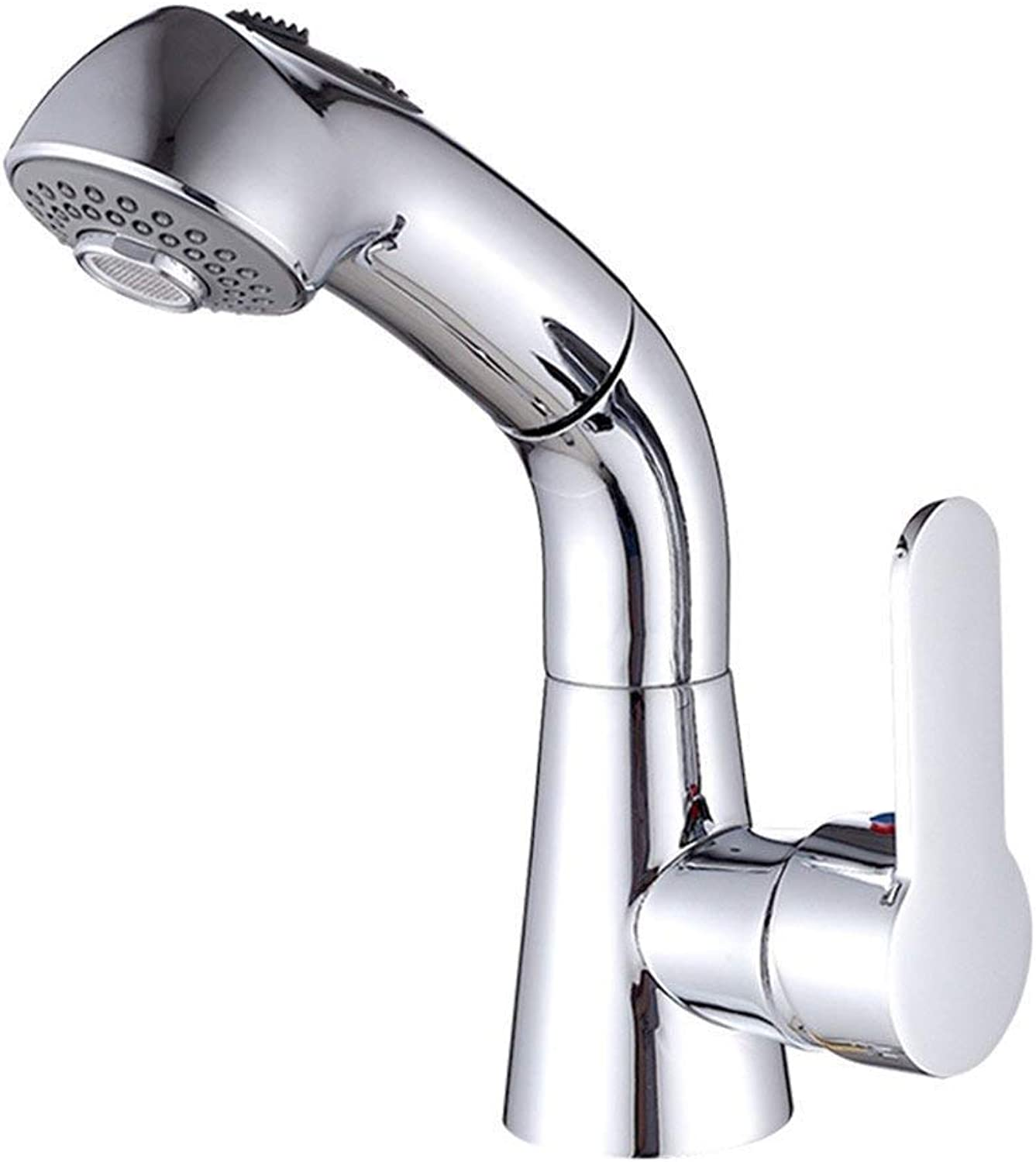 Oudan All Copper Main Pulling Faucet Telescopic Basin Faucet redating Hot and Cold Stretch Shower Shampoo,A (color   C, Size   -)