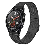 JTlong88 Compatible with Huawei Watch GT/GT 2e/GT2 46mm/Honor Magic/Dream Bands,22mm Stainless Steel Mesh Loop Bracelet Strap Replacement for Huawei Watch2 Pro Smartwatch,Mesh-Black