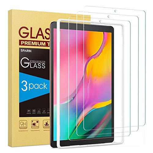 SPARIN (3 Stück) Schutzfolie für Galaxy Tab A 10.1 2019 (SM-T510/T515), Montagerahmen, Einfach Anzubringen, Glas Panzerglas Bildschirmschutzfolie