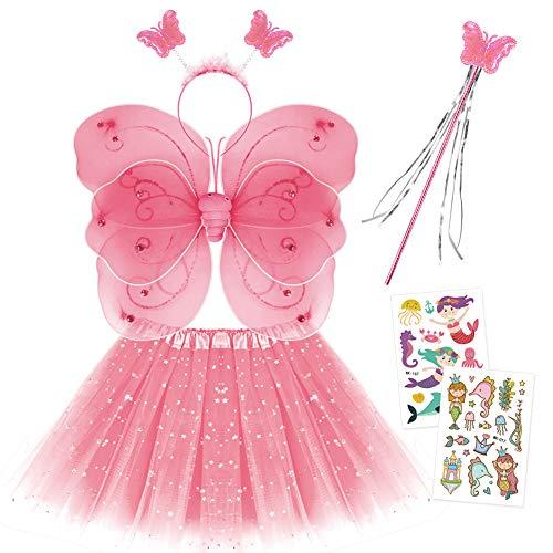 Smart Nice Fee Kostüm Kinder,Tutu und Flügel Set,Schmetterlingsflügel Fee Prinzessin Kostüm Tüllrock Zauberstab und Haarreif mit Meerjungfrau Prinzessin Sticker Tattoos für Mädchen Party (Rosa)