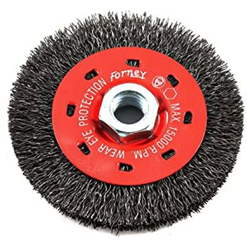 Forney 72896 Wire Bench Wheel Brush 6-Inch-by-.012-Inch Industrial Pro Crimped with 1//2-Inch Through 2-Inch Multi Arbor