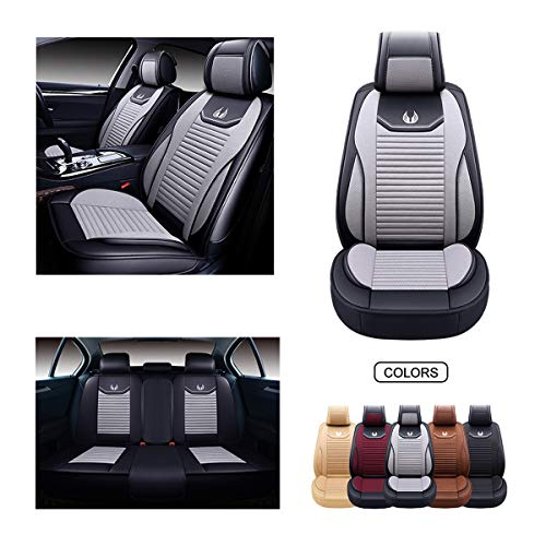 OASIS AUTO Leather&Fabric Car Seat Covers, Faux Leatherette Automotive Vehicle Cushion Cover for Cars SUV Pick-up Truck Universal Fit Set Auto Interior Accessories (OS-008 Full Set, Grey)