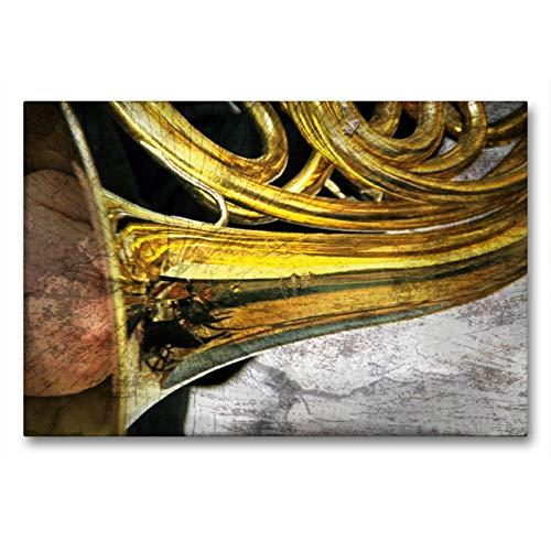 Premium - Lienzo de tela (90 x 60 cm, horizontal), diseño de calendario con imágenes de instrumentales de KUNST