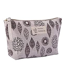 Travel Cosmetic Bags - Portable Make up Bag Organizer, Hanging Toiletry Pouch with Zipper, Large Capacity Makeup Bag for Women Men Teens Girls Carry on Purse, Cotton & Linen, 8.3x5.1 (G)