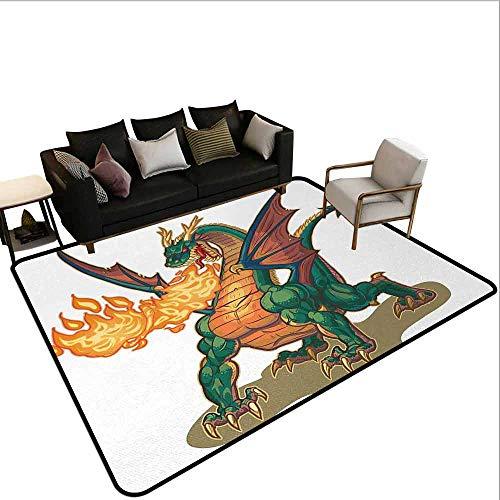 MsShe grote tapijt draak, Japanse oude mode oude volksmythe schepsel in levendige getint ontwerp, limoen groene goudsbloem rood