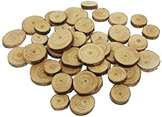 Unfinished Wood Natural Thick Wood Slices Circles with Tree Bark Log Discs Arts and Crafts Christmas Wedding Ornaments DIY Crafts 100 Pcs (100)