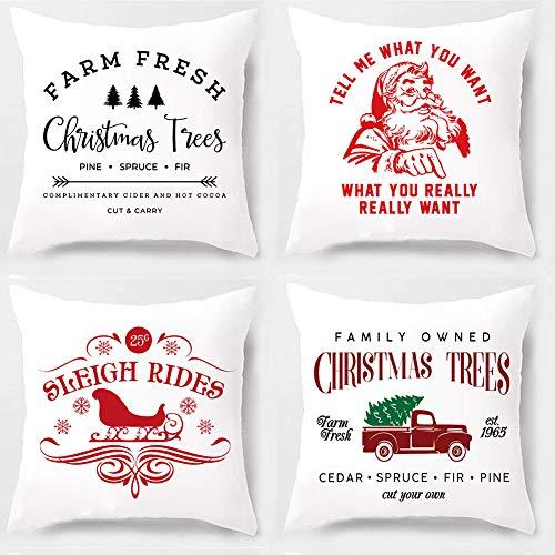 PSDWETS - Juego de 4 Fundas de cojín de algodón y poliéster para decoración de Granjas, decoración de Navidad, camión, Sisha Claus, Trineo
