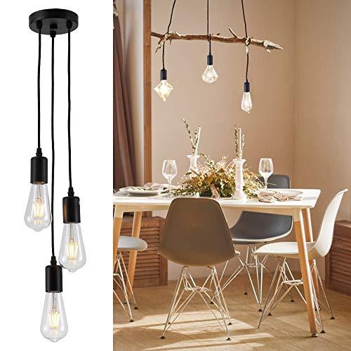 iDEGU 3 Lampes Suspension Rétro Industrielle Luminaire DIY Lustre 150CM Réglable E27 Plafonnier Design Araignée Lampes de Plafond pour Salon Chambre Restaurant Café (Noir)