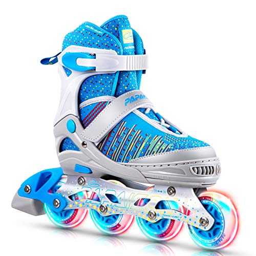 PAPAISON Fly Knitting Upper Adjustable Illuminating Inline Skates for Boys and Girls with Full Light up Wheels, Beginner Roller Skates for Kids Youth Women and Men …